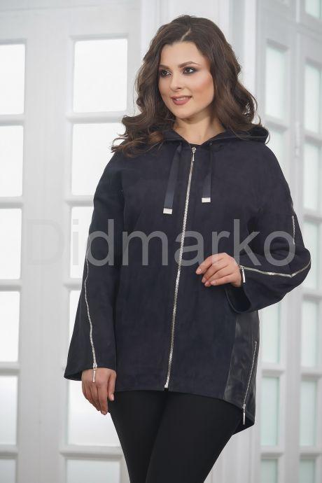 Удлиненная кожаная куртка синего цвета FS. Фото 6.