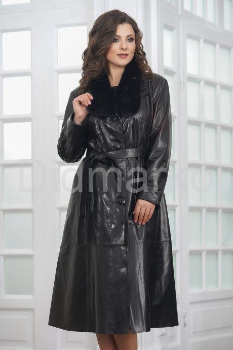 Красивое кожаное пальто со сменными воротниками. Фото 6.