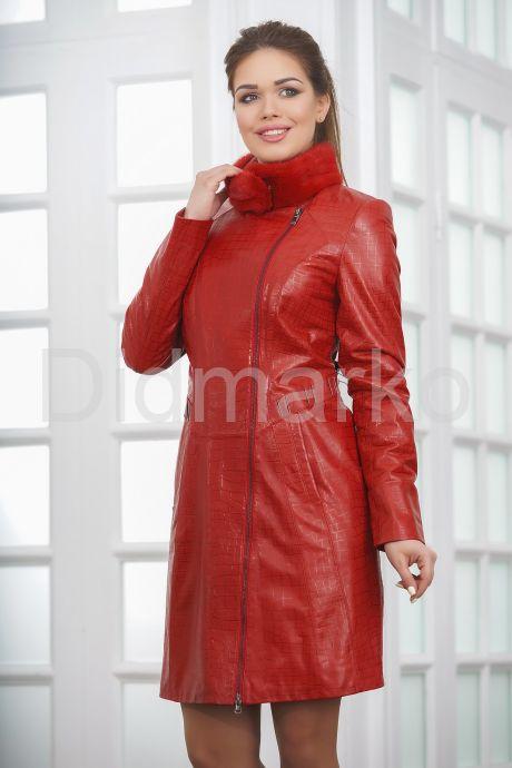 Кожаное пальто с выделкой под кроку. Фото 4.