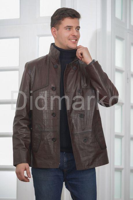 Мужская кожаная куртка больших размеров кроко. Фото 3.