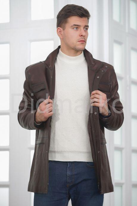 Классическая кожаная куртка для мужчин. Фото 4.