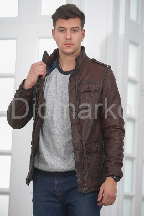 Мужская кожаная куртка в стиле Сафари. Фото 5.