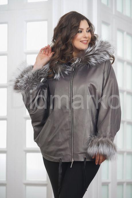 Короткая кожаная куртка с мехом летучая мышь. Фото 4.