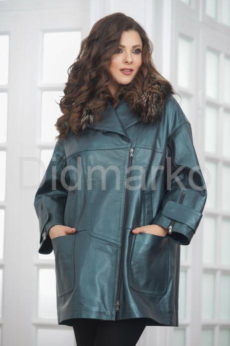 Демисезонная кожаная куртка в стиле оверсайз. Фото 1.