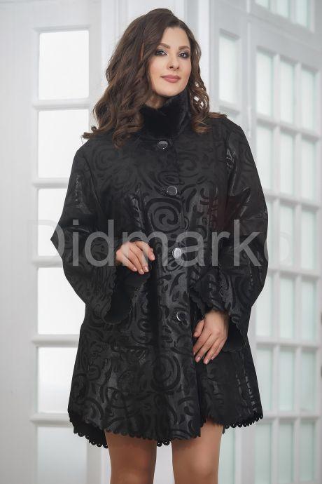 Удлиненная трапециевидная замшевая куртка с мехом. Фото 4.