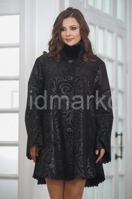 Удлиненная трапециевидная замшевая куртка с мехом
