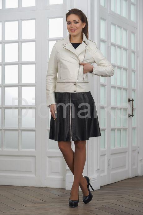 Кожаная куртка косуха жемчужного цвета. Фото 5.