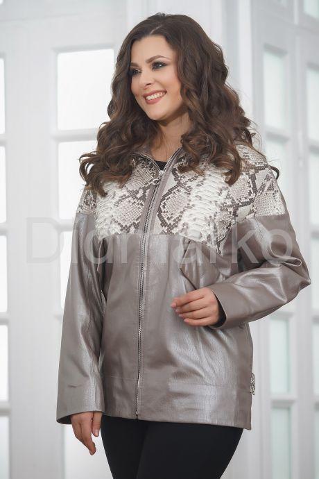 Кожаная женская куртка со вставками из натурального питона. Фото 5.