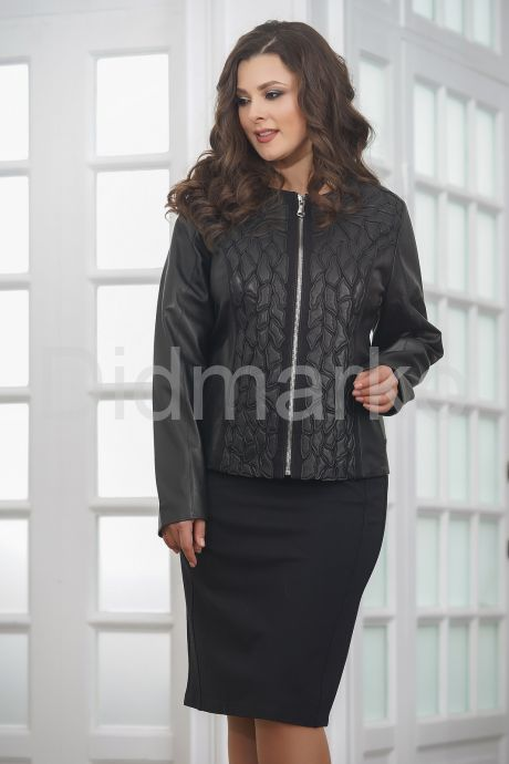 Женская дизайнерская кожаная куртка на молнии. Фото 3.