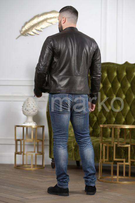 Кожаная мужская куртка черного цвета Осень 2019. Фото 6.