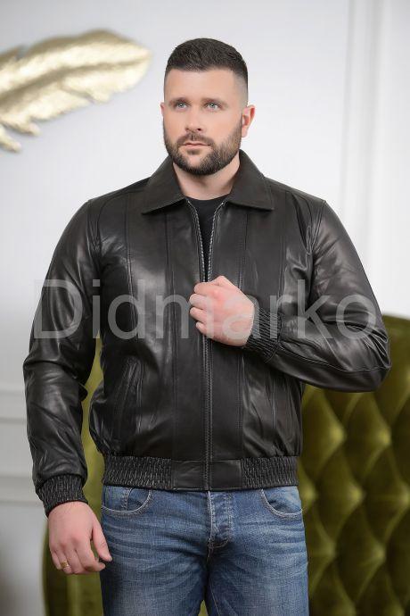 Мужская кожаная куртка на резинке с воротником. Фото 3.
