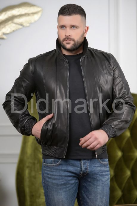 Мужская кожаная куртка на резинке с воротником, артикул DM1048