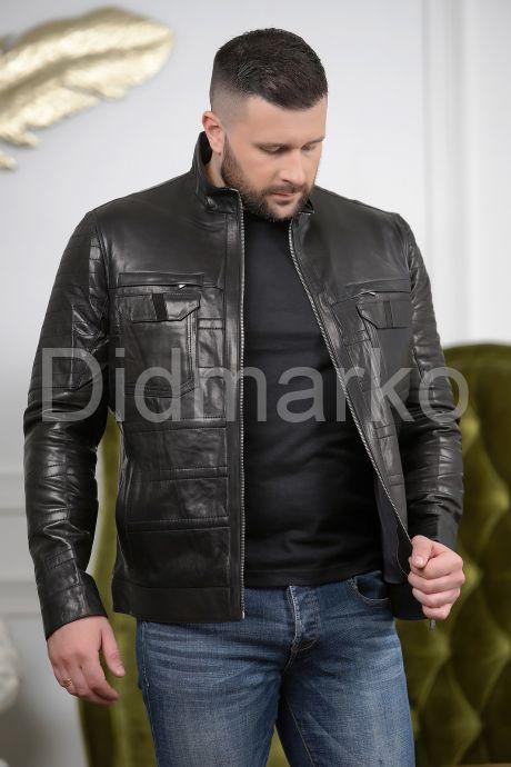 Стильная мужская кожаная куртка с карманами, артикул DME56