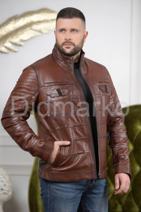 Мужская кожаная куртка цвета виски. Фото 5.