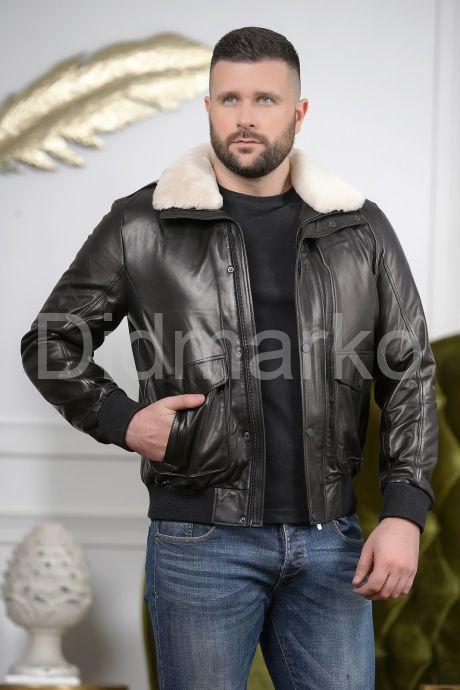 Стильный кожаный пуховик на резинке