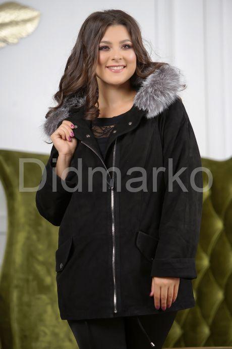 Замшевая куртка с мехом чернобурки. Фото 4.