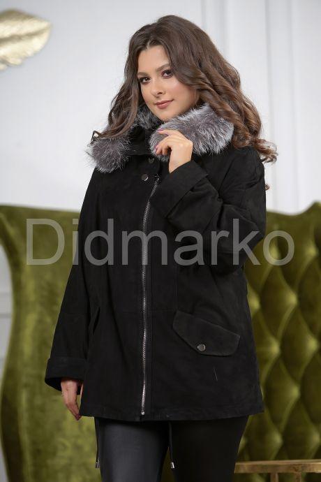 Замшевая куртка с мехом чернобурки