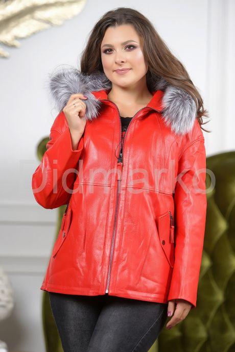 Утепленная кожаная куртка больших размеров кораллового цвета. Фото 3.
