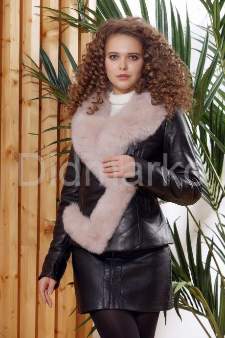 Женская кожаная куртка с мехом - автоледи. Фото 1.