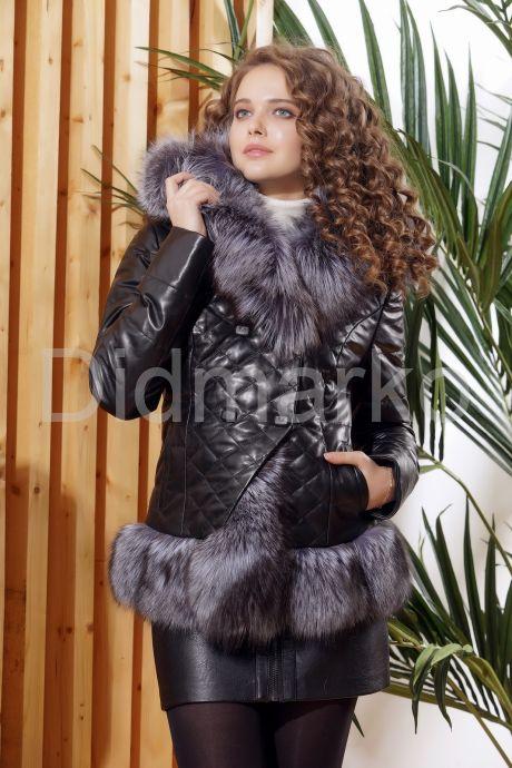 Молодежный кожаный пуховик с чернобуркой. Фото 3.