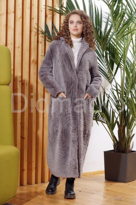 Нежное длинное пальто из овчины. Фото 5.