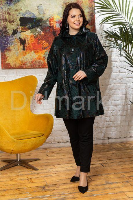 Трапециевидная женская куртка из замши с принтом