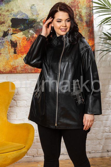 Удлиненная кожаная куртка черного цета. Фото 7.