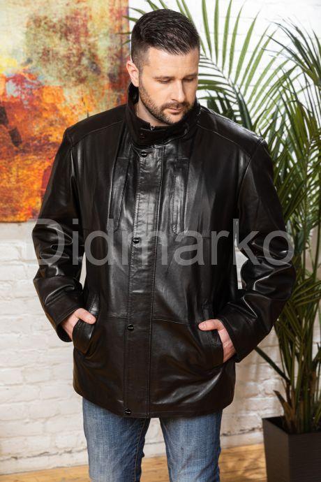 Удлиненная мужская кожаная куртка больших размеров. Фото 8.
