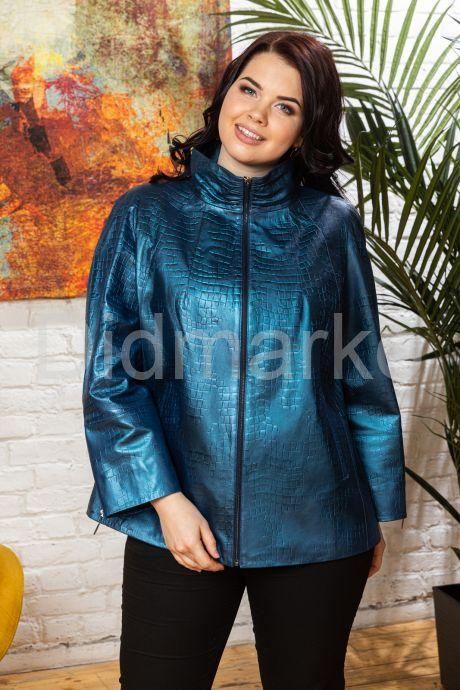Синяя кожаная куртка для женщин. Фото 8.