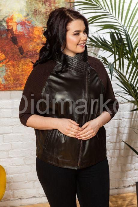Весенняя кожаная куртка с трикотажными рукавами. Фото 4.