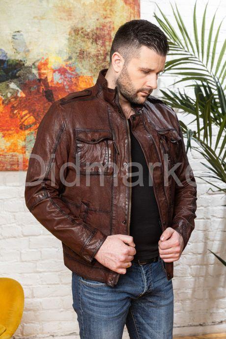 Мужская кожаная куртка цвета виски 2020. Фото 9.