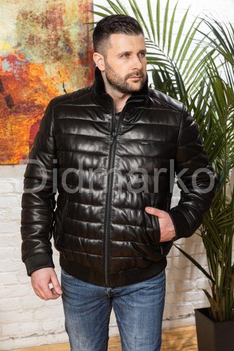 Короткий кожаный пуховик для мужчин больших размеров. Фото 6.