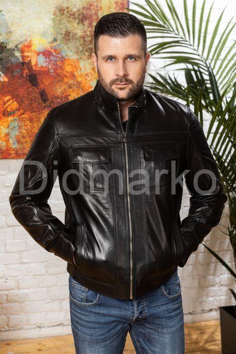 Мужская кожаная куртка черного цвета. Фото 5.