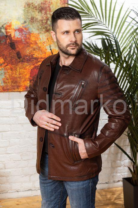 Мужская кожаная куртка цвета виски с отложным воротником, артикул DML0570