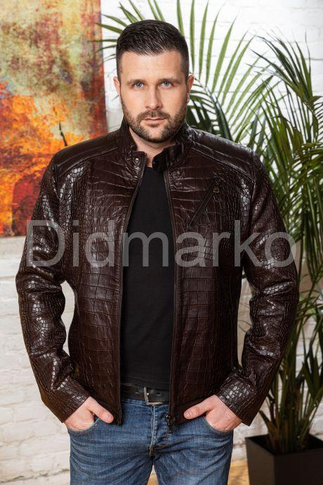 Мужская кожаная куртка коричневого цвета. Фото 7.