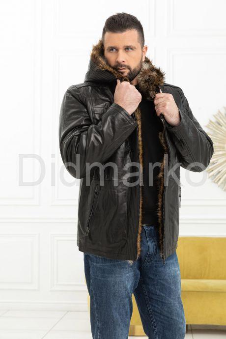 Зимняя мужская дубленка с мехом енота. Фото 9.