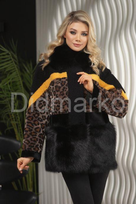 Короткая дубленка с принтом леопарда. Фото 1.