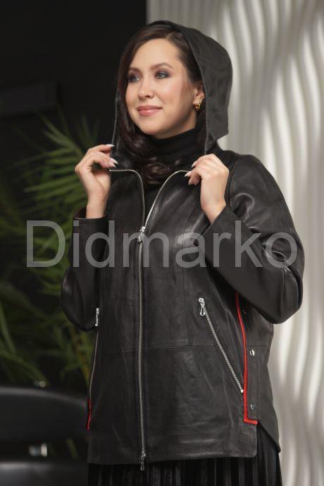 Женская кожаная куртка с капюшоном больших размеров