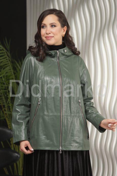 Кожаная куртка с капюшоном цвета хаки. Фото 3.