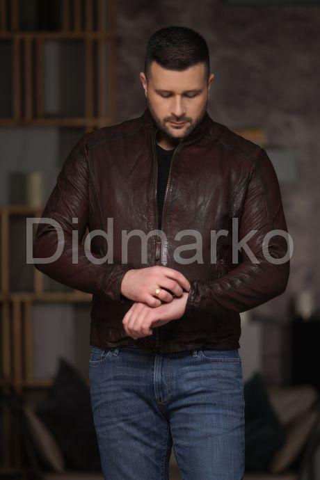 Мужская кожаная куртка из стираной кожи. Фото 5.