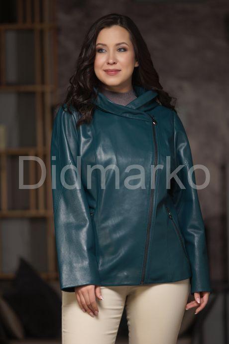 Женская кожаная куртка цвета морской волны. Фото 1.