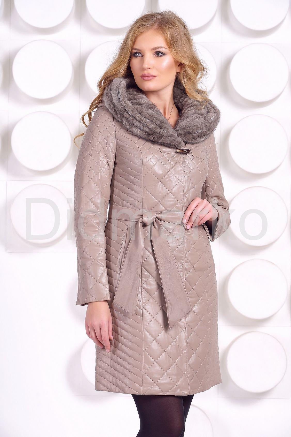 стеганое кожаное пальто с отделкой вязаной норкой купить по цене