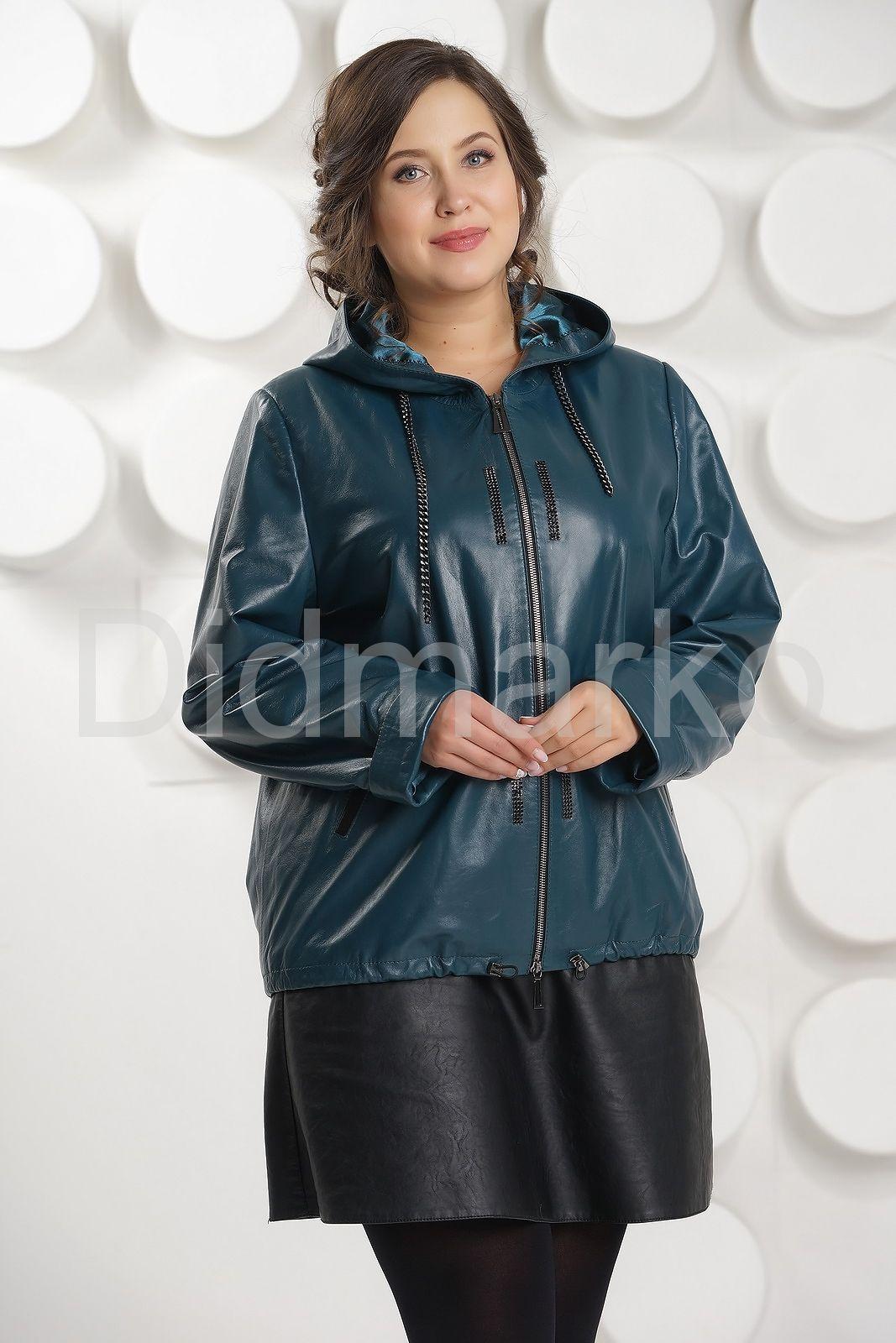 6ec47f9980d Кожаная куртка цвета морской волны купить по цене 23000.00