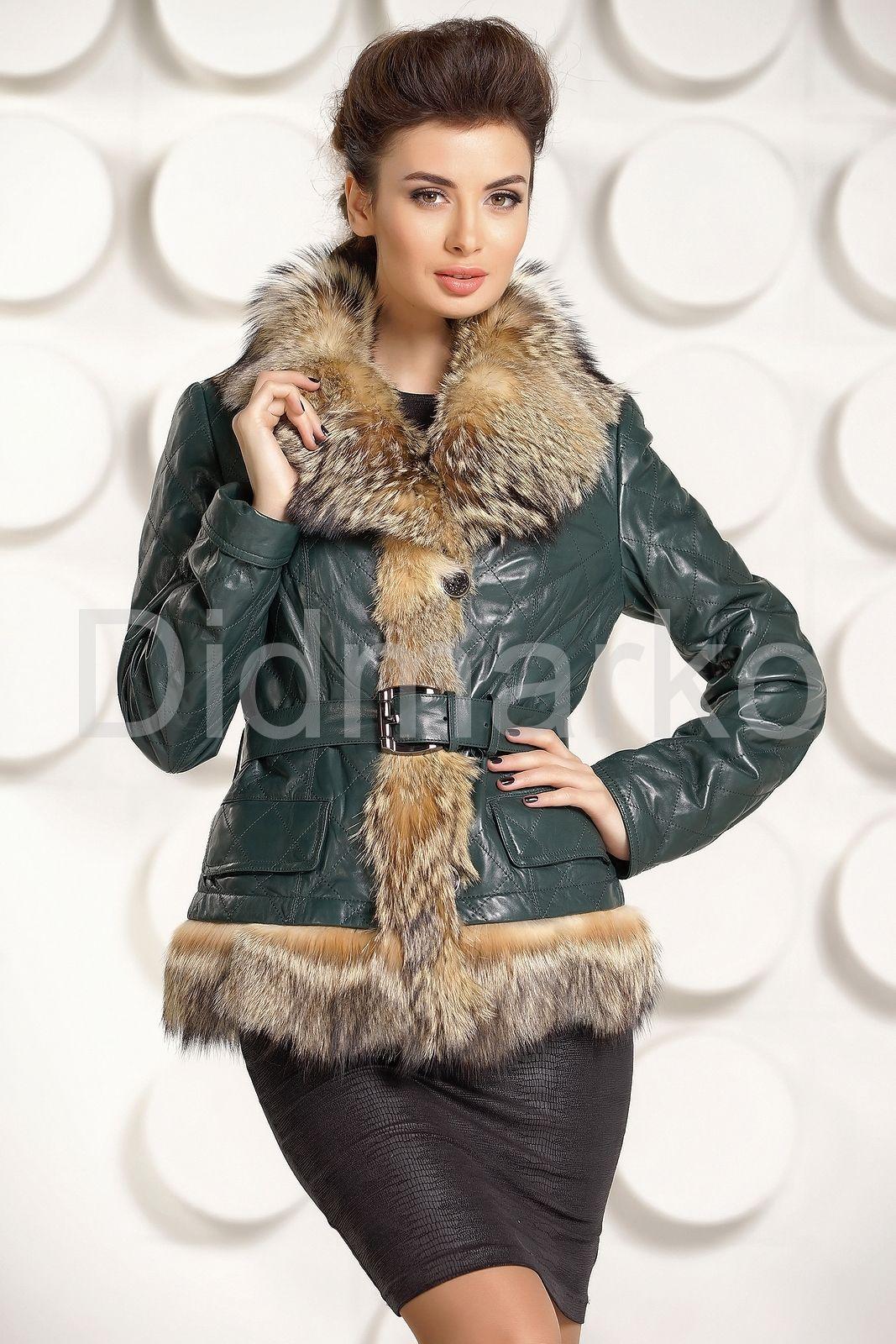 959a5bb7b16 Кожаная куртка с мехом волка купить по цене 33000.00