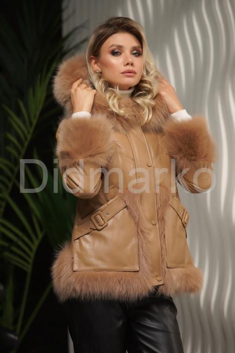 Стильный кожаный пуховик Зима 2022