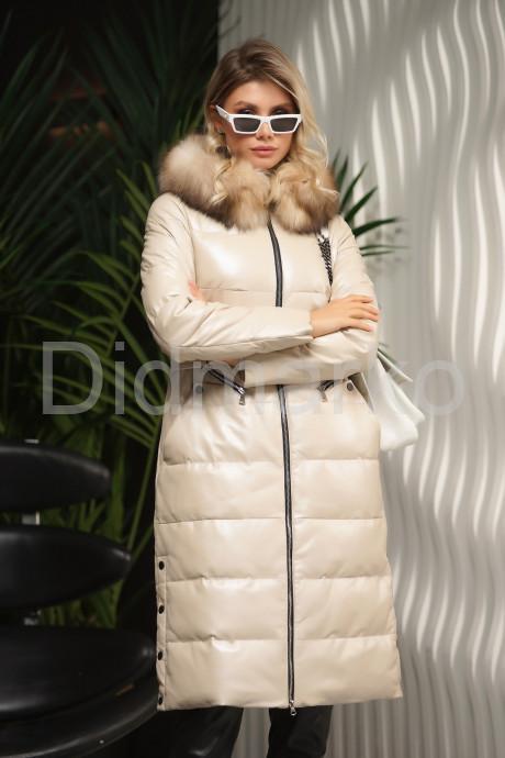 Стильный кожаный пуховик цвета слоновой кости Зима 2022