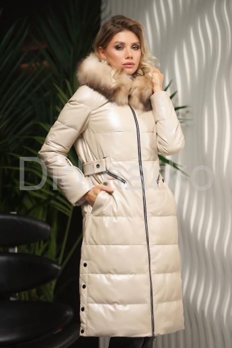 Купить Стильный кожаный пуховик цвета слоновой кости Зима 2022 в Москве и Санкт-Петербурге