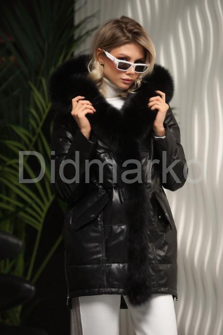 Купить Кожаный пуховик черного цвета в Москве и Санкт-Петербурге