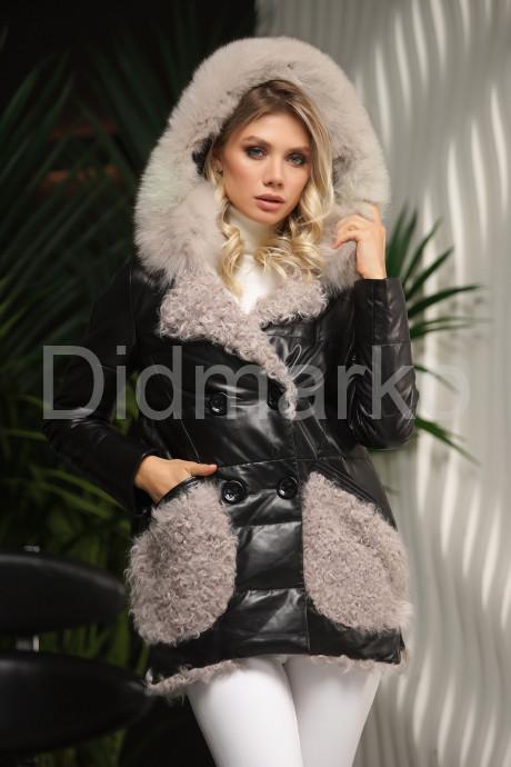 Купить Кожаный пуховик с мехом барашка в Москве и Санкт-Петербурге