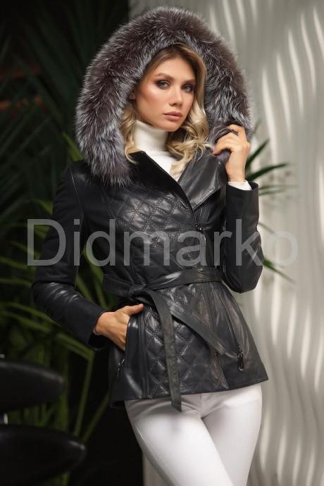 Купить Кожаная куртка с капюшоном и мехом чернобурки в Москве и Санкт-Петербурге